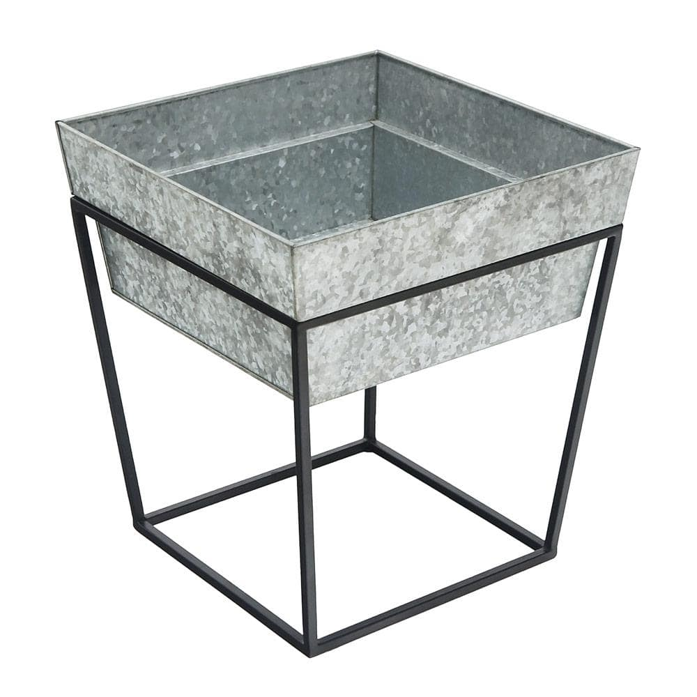 Achla Designs 17 5 In Tall Black Powder Coat Small Indoor Outdoor Arne Metal Plant Stand With Deep Galvanized Tray Fb 45g7 The Home Depot