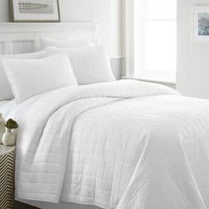 Square White Queen Performance Quilted Coverlet Set