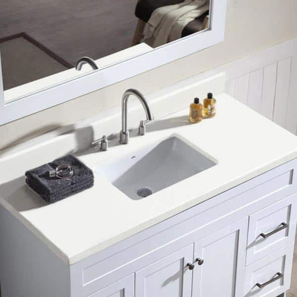 Ariel Hamlet 49 In Bath Vanity In White With Quartz Vanity Top In White With White Basin And Mirror F049s Wq Wht The Home Depot