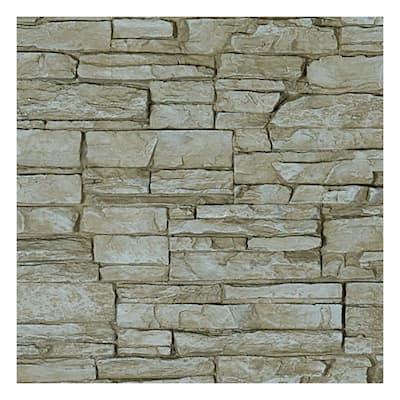 SAMPLE - 1-1/4 in. x 9 in. Sandstone Urethane Canyon Ridge Stacked Stone, StoneWall Faux Stone Siding Panel Moulding