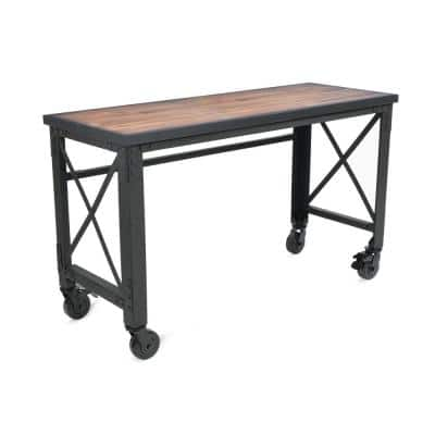 62 in. x 24 in. Rolling Industrial Worktable Desk with Solid Wood Top