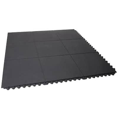 Tile Flooring 36 in. x 36 in. Commercial Home Indoor Outdoor Interlocking Exercise Gym Rubber Floor Mat