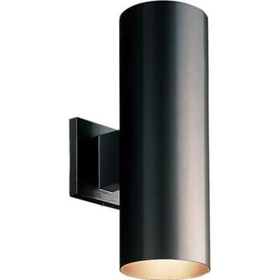 Outdoor 5 in. Black Round Cast Aluminum Modern Cylinder with Up and Down Light Wall Lantern