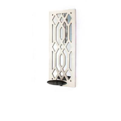 White Wooden Rectangular Frame Candle Holder with Lattice Design