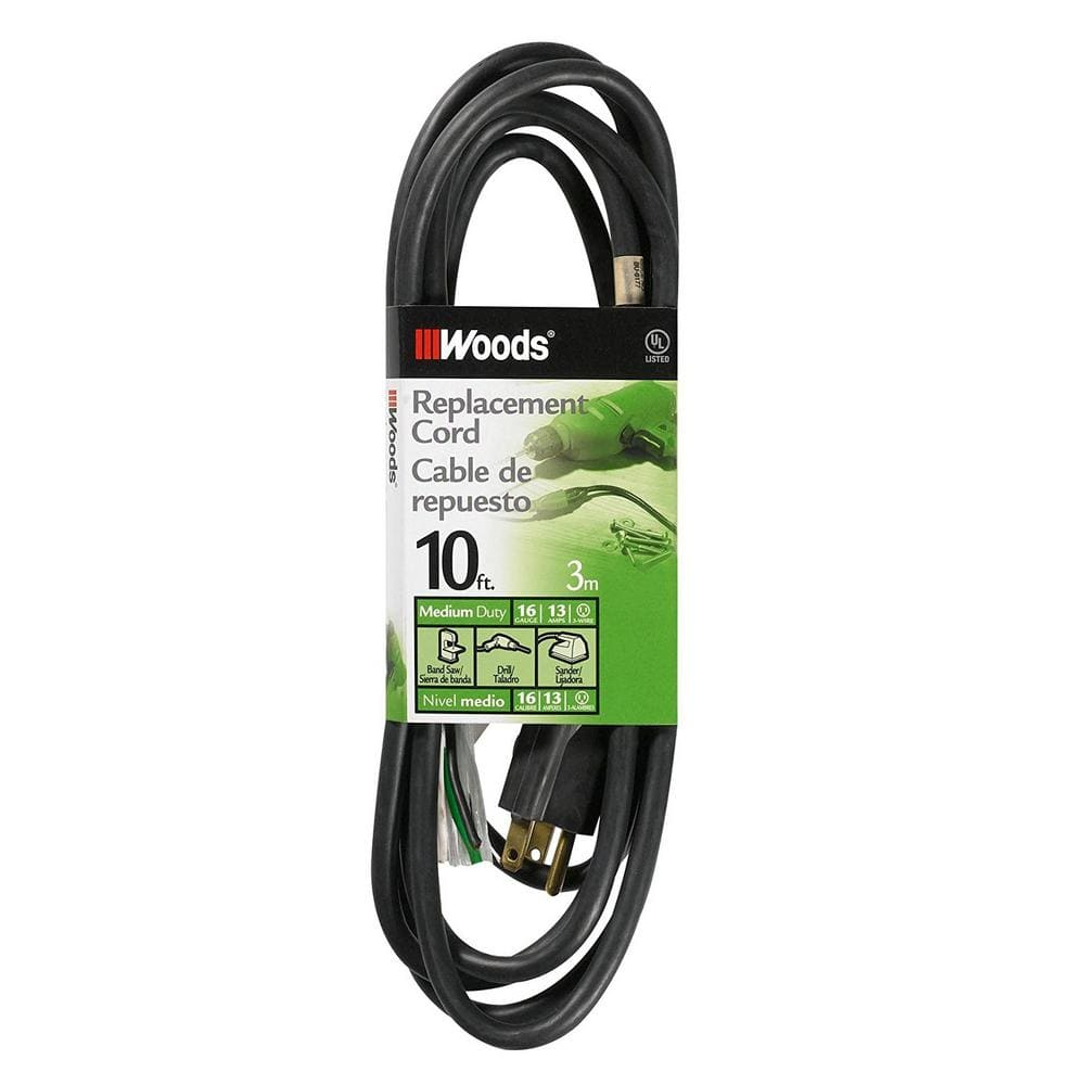 Woods 10 Ft 16 3 Sjew Replacement Power Supply Cord Black 3951 The Home Depot