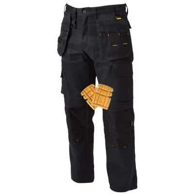 ProTradesman Combo Men's 34 in. W x 31 in. L Black Polyester/Cotton/Elastane Stretch Work Pant with Knee Pad
