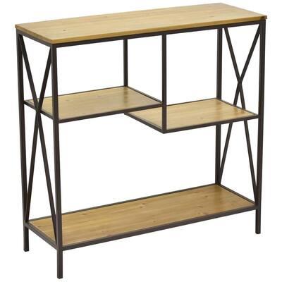 33.5 in. Metal W/Wood Book Shelf in Brown