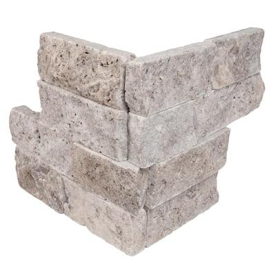 Trevi Gray Ledger Corner 6 in. x 6 in. x 6 in. Natural Travertine Wall Tile (2.5 sq. ft./Case)