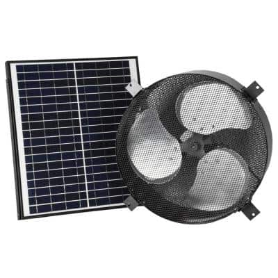 1750 CFM Black Solar Powered Gable Mount Solar Attic Fan