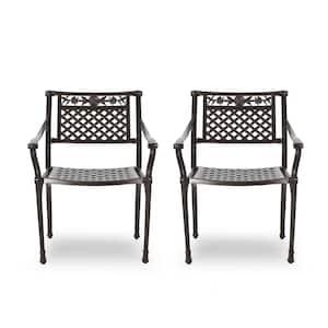 Ridgecrest Hammered Bronze Aluminum Outdoor Dining Chair (2-Pack)