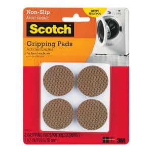 Scotch 1.5 in. Brown Round Hard Surface Gripping Pads (8-Pack)