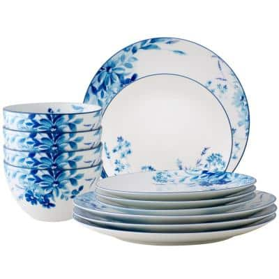 Blossom White/Blue Road White Porcelain 12-Piece Dinnerware Set Service for 4