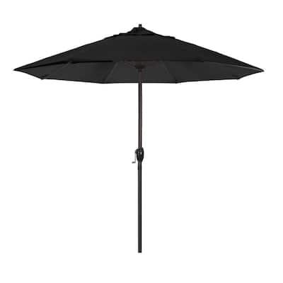 9 ft. Aluminum Market Auto Tilt Crank Lift Bronze Patio Umbrella in Black Pacifica