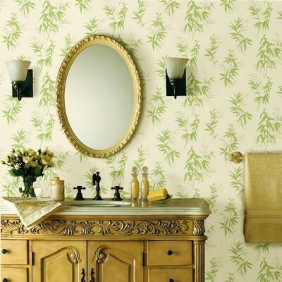 Bamboo Shoot Light Green Leaves Vinyl Peelable Roll Wallpaper (Covers 56.4 sq. ft.)