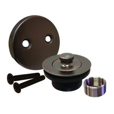 Lift and Turn Bath Tub Drain Conversion Kit with 2-Hole Overflow Plate in Oil Rubbed Bronze