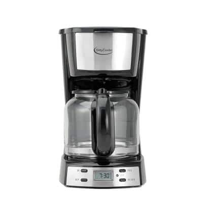 12-Cup Programmable Silver Drip Coffee Maker with Automatic Shutoff
