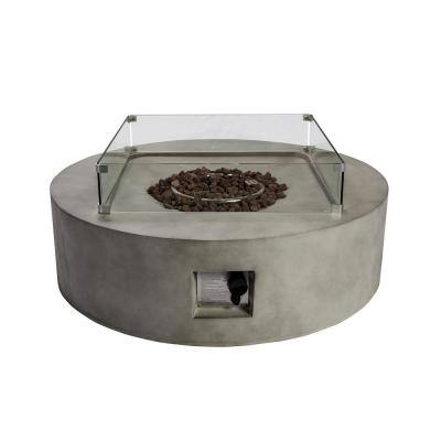 Outdoor 42 in. x 11.8 in. Round Concrete Propane Gas Fire Pit