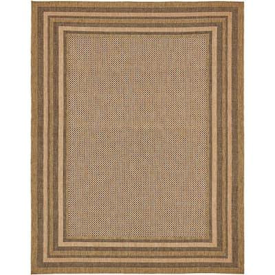 Outdoor Multi Border Light Brown 9' 0 x 12' 0 Area Rug