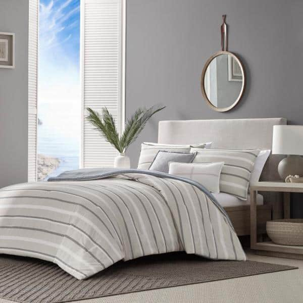 Nautica Woodbine 5 Piece Beige Striped Cotton King Comforter Set Ushs8k1145608 The Home Depot