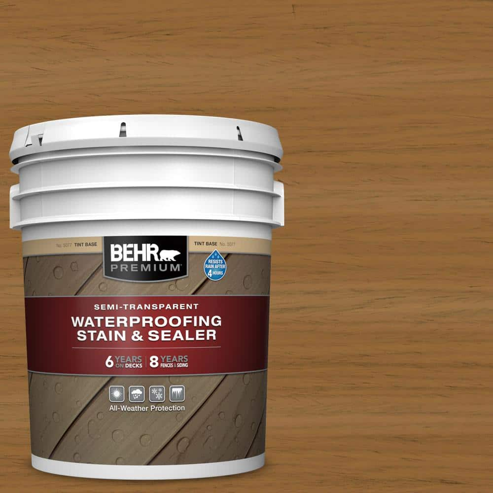 Behr Premium 5 Gal St 146 Cedar Semi Transparent Waterproofing Exterior Wood Stain And Sealer 507705 The Home Depot