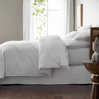 Lucille White Geometric Cotton Duvet Cover