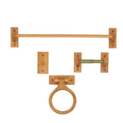 4-Piece Bath Hardware Kit in Oak