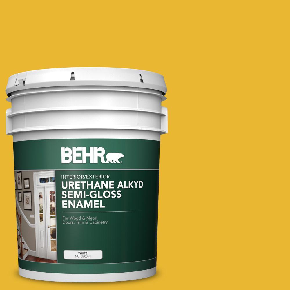 5 gal. #OSHA-6 OSHA SAFETY YELLOW Urethane Alkyd Semi-Gloss Enamel Interior/Exterior Paint