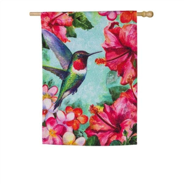 Evergreen 28 In X 44 In Hummingbird And Hibiscus Textured Suede House Flag 13es9152 The Home Depot