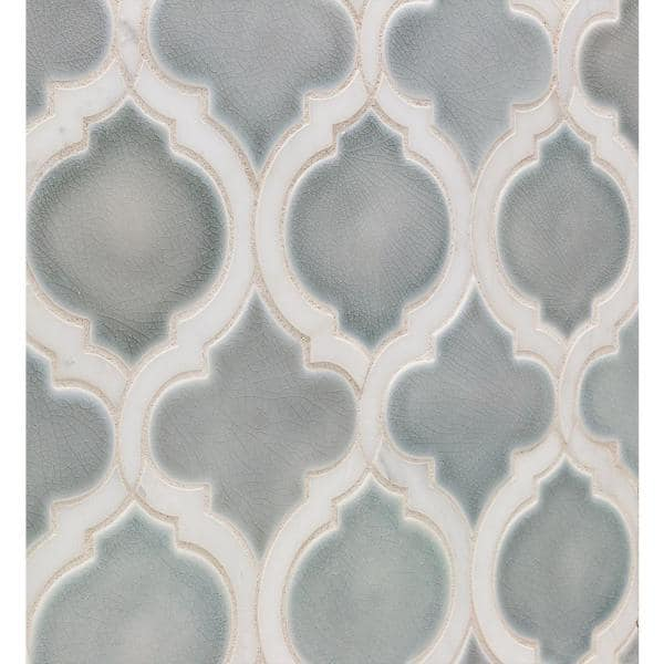 Ivy Hill Tile Delphi Arabesque Arctic Blue 10 In X 12 In Glazed Ceramic Mosaic Tile 0 80 Sq Ft Sheet Ext3rd105779 The Home Depot