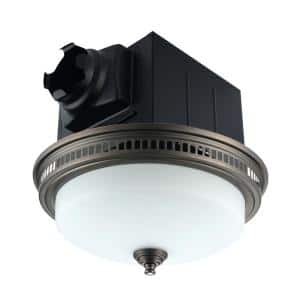 110 CFM Ceiling Bathroom Exhaust Fan with LED Light and Nightlight, Round Frosted Glass Cover Grille Oil Rubbed Bronze