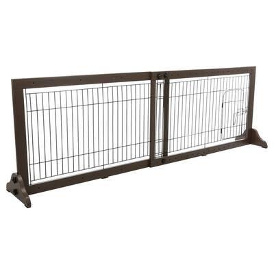 Wooden Freestanding Pet Gate with Pet Door 22.5 in. H in Brown