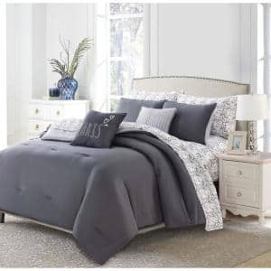 9-Piece Charcoal Parisian King Bed in a Bag Set
