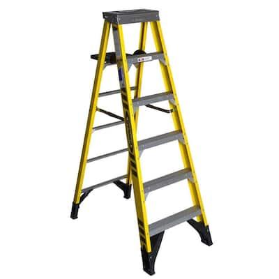 6 ft. Fiberglass Step Ladder with Shelf 375 lb. Load Capacity Type IAA Duty Rating