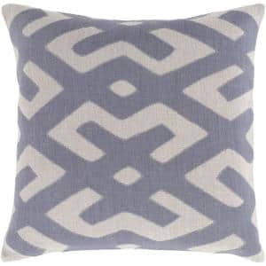 Rigault Navy Geometric Polyester 18 in. x 18 in. Throw Pillow