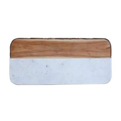 Oval 15.5 in. Mango Wood and Marble Cheese Board