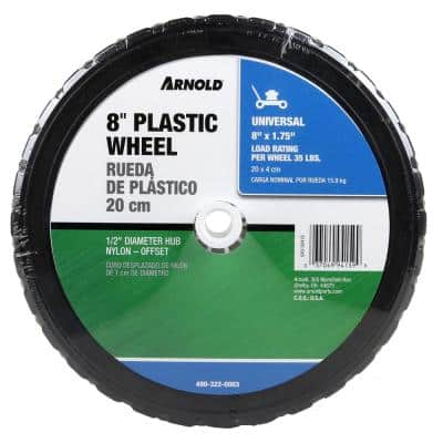 8 in. x 1.75 in. Universal Plastic Wheel with 1/2 in. Dia Nylon Offset Hub