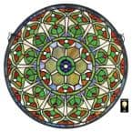 Peacock's Plumage Medallion Tiffany-Style Stained Glass Window Panel