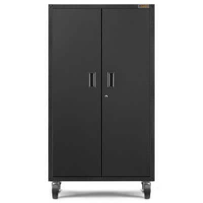 36 in. W x 66 in. H x 18 in. D 3-Shelves Steel Mobile Storage Freestanding Cabinet in Smooth Hammered Granite