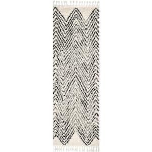 Amanda Moroccan Chevron Tassel Off-White 3 ft. x 10 ft. Runner