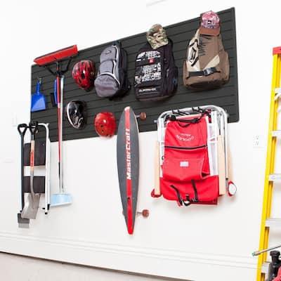 Modular Garage Wall Panel Set with Storage Hooks in Black (14-Piece)