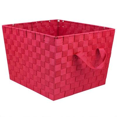15 in. D x 10 in. H x 13 in. W Red Fabric Cube Storage Bin