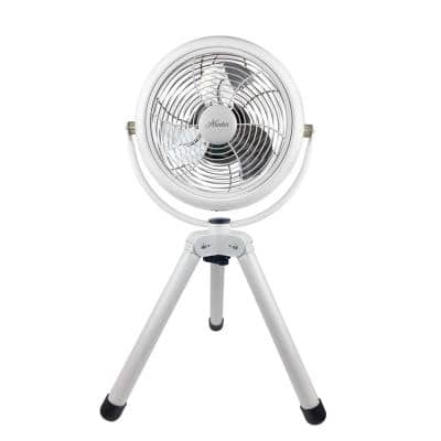 Retro 8 in. 3 Speed Floor Fan with Tripod Stand in White