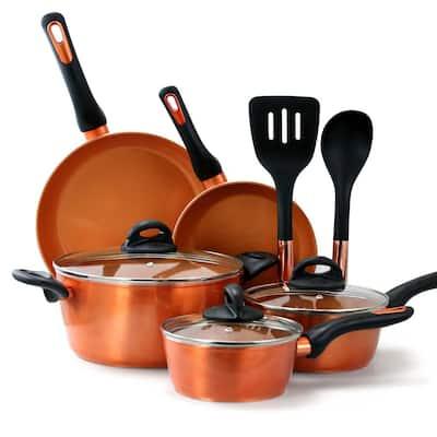 Hummington 10-Piece Aluminum Ceramic Nonstick Cookware Set in Metallic Copper