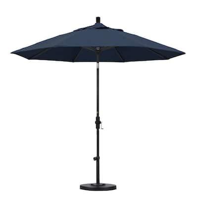 9 ft. Stone Black Aluminum Market Patio Umbrella with Collar Tilt Crank Lift in Spectrum Indigo Sunbrella