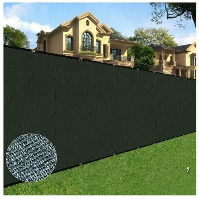 6 ft. x 15 ft. Black Privacy Fence Screen Netting Mesh with Reinforced Grommet for Chain link Garden Fence