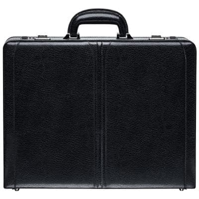 Business Collection Black Leather Expandable Attache Case 17.75 in. W x 4.5 in. D x 14 in. H