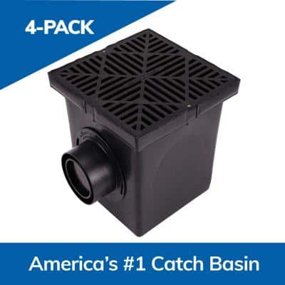 12 in. Square Catch Basin Drain Kit 2-Opening Basin, Black Plastic Grate, 2 Outlet Adapters and 1 Outlet Plug (4-Pack)