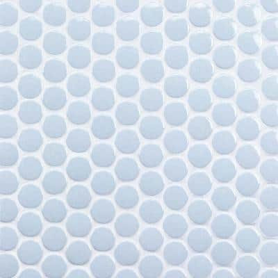 Bliss Blue Circles 12.87 in. x 12.25 in. x 6 mm Polished Ceramic Mosaic Tile