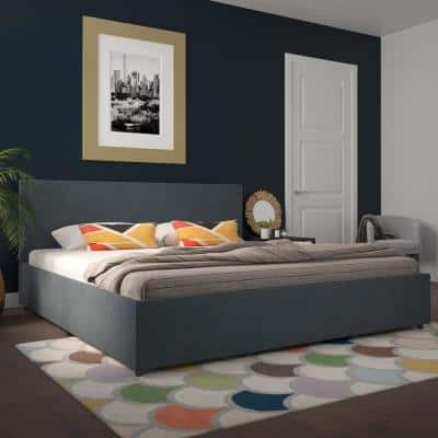 Kelly Navy Linen Upholstered King Bed with Storage