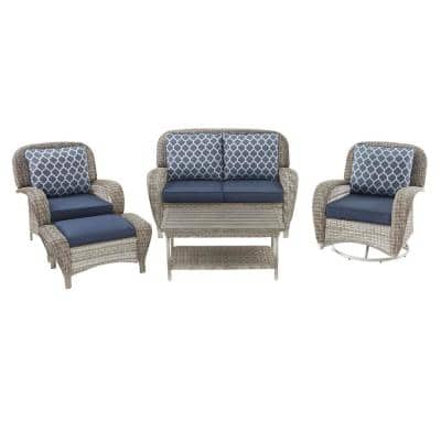 Beacon Park 5-Piece Gray Wicker Patio Deep Seating Set with Midnight Cushions